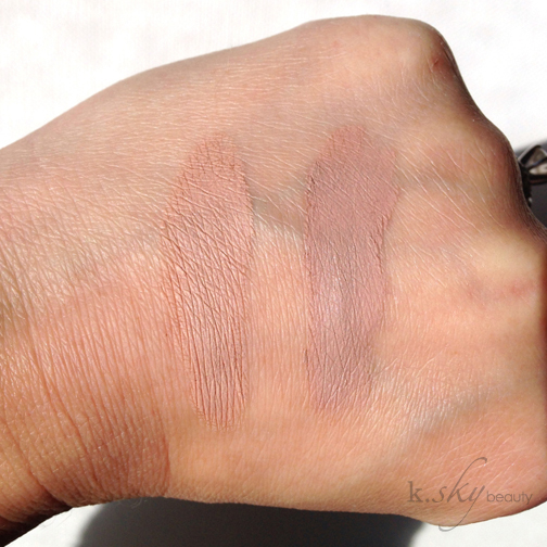MAC's Painterly (left) vs. Maybelline's Nude Pink (right)