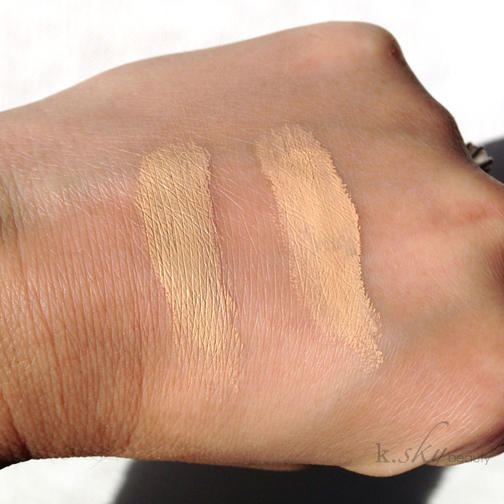 MAC's Soft Ochre (left) vs. Maybelline's Just Beige (right)