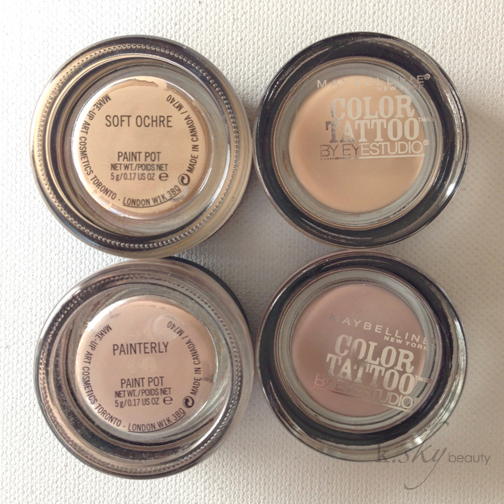 Maybelline Color Tattoos in Just Beige and Nude Pink vs. MAC Pro Longwear Paint Pots in Soft Ochre and Painterly
